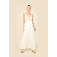 Rachel - Rayon Strapped Inner Nightie- Off white with Gold