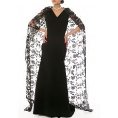 فستان دانتيل طويل - أسود