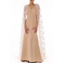 فستان دانتيل طويل - وردي فاتح