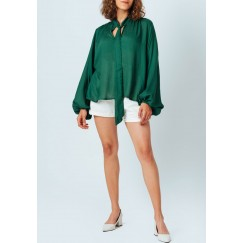 Green Neck Tie Blouse
