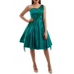 فستان بكتف واحد أخضر