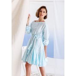 فستان نجلا الأزرق برفرفات