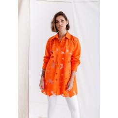 قميص برتقالي مورد بأكمام طويلة