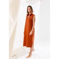 فستان برتقالي محمر بدون أكمام