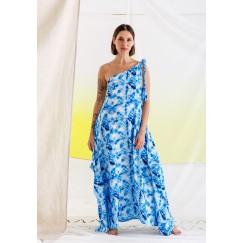 فستان بحر أزرق مطبوع
