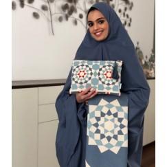 طقم صلاة خمار مغربي ازرق