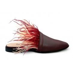 حذاء زيان الماروني بريش أحمر وخوخي