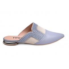 حذاء ثرية الجلد بالأزرق والبيج