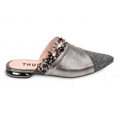 حذاء جمان الجلد ميتاليك ورمادي