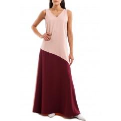 فستان وردي وماروني بدون أكمام