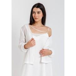 قميص أبيض مخطط أورجانزا
