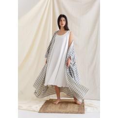 Grey Bisht with sleeveless Dress