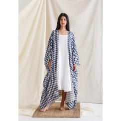 Blue Bisht with Sleeveless Dress