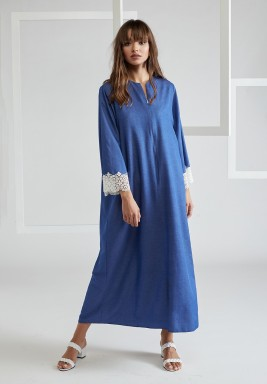 Trimmed Poplin Dress