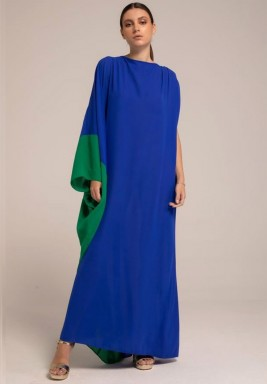 Blue One shoulder Sleeve Two -toned kaftan with V-back