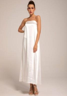 فستان داخلي أبيض كريب حرير