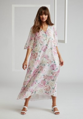 Silk Chiffon Buttoned Printed Dress with Half Butterfly Sleeves