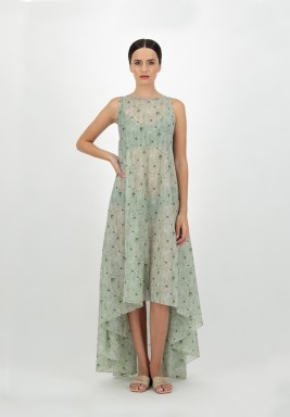 Green Voile Printed leaves Sleeveless Dress with Asymmetric Length