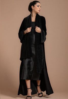 Classic Velvet Abaya with Metal Studs with Attached Sheila
