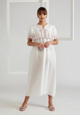 Trimmed Ruffled Cotton Dress