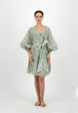 Green Printed leaves voile cover up with Puff Sleeves