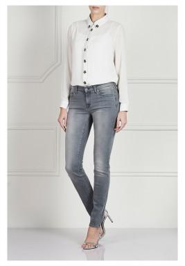 بنطال جينز سكيني متوسط الارتفاع عند الخصر - رمادي