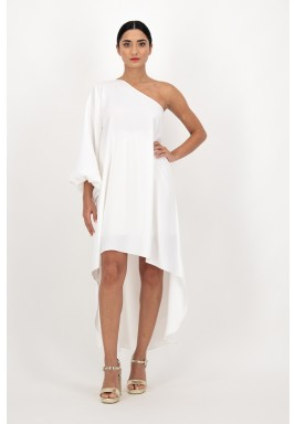 Ivory One Shoulder Puff Sleeves Crepe Dress with Asymmetric length