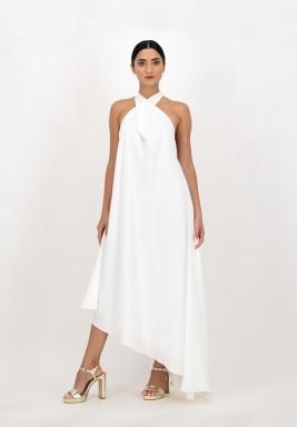 فستان أبيض كريب بطول متباين