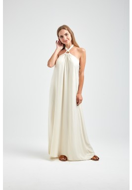فستان هيلين الأبيض بربطة عنق