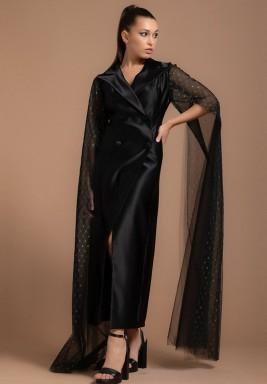 Silk Satin Dress with Oversized Tulle Metallic Sleeves