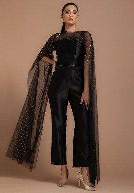 Tulle Top with Oversized Metallic Sleeves Gold Tulle