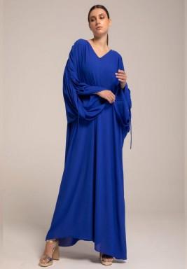 Georgette Blue shoulder Draw Strings kaftan