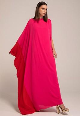 Hot Pink shoulder Sleeve two -toned kaftan with V-back