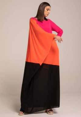 Trio Tone georgette kaftan with Assymetric Sleeve
