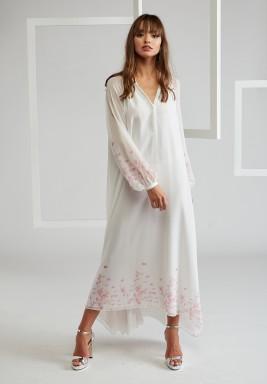 Trimmed Silk Chiffon Dress, layered by viscose