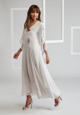 Silk Chiffon Trimmed Dress With Furry Pin