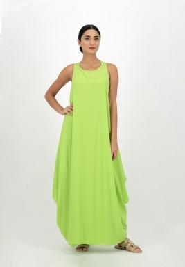 فستان أخضر جورجيت بجوانب منسدلة