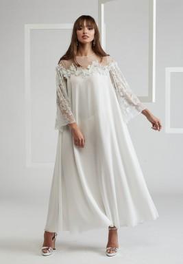 Trimmed Dress on Shoulder and Sleeves
