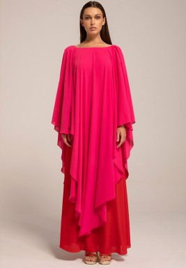 Hot Pink Two-toned layered Georgette Frilled kaftan