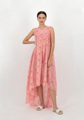 فستان أحمر بدون أكمام متباين الطول