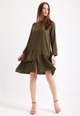 فستان زيتي نمط قميص برفرفات