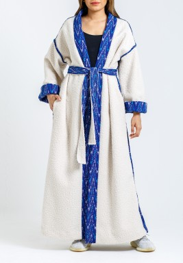 Off White & Blue Bisht