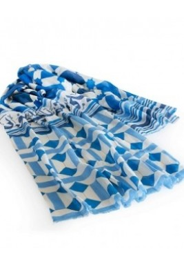 وشاح حريري متعدد طرق اللبس بنمط مكناس لون أزرق