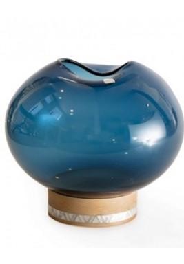 مزهرية زجاج معتم لون أزرق حجم صغير