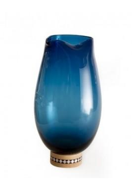 مزهرية زجاج معتم لون أزرق حجم كبير