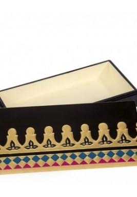 صندوق خشبي منقوش برسم يدوي  حجم صغير لون أسود