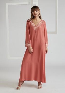 Trimmed Silk Crepe Dress