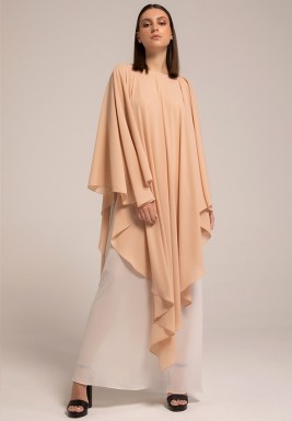 Cream TanTwo-toned layered Georgette Frilled Kaftan