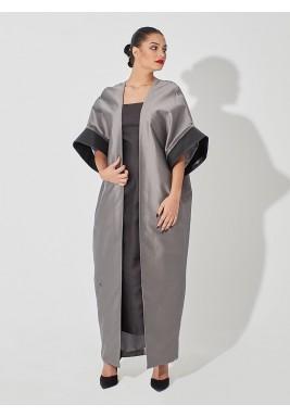 سترة من الحرير الخام، طويلة - رمادي