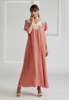 Trimmed Half Sleeve Silk Crepe Dress